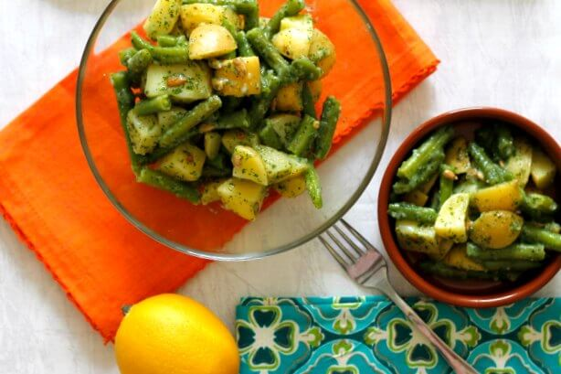 Oil Free Potatoes and Green Beans with Pesto