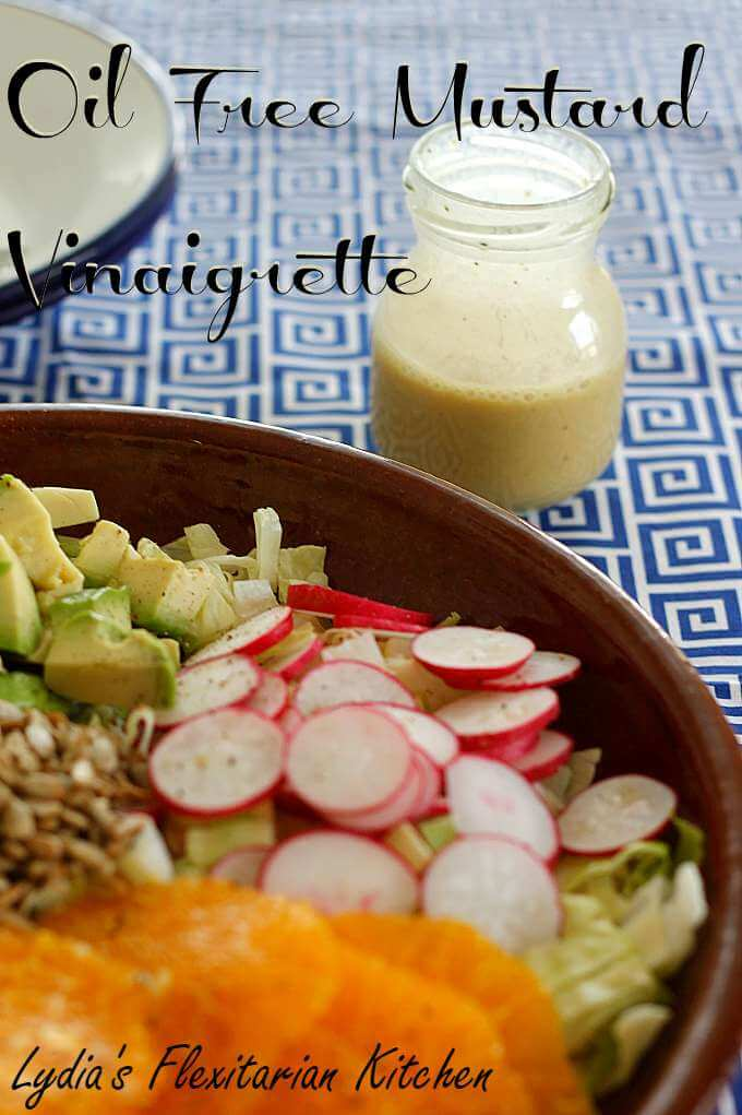Oil Free Mustard Vinaigrette over Orange Avocado Salad ~ Lydia's Flexitarian Kitchen