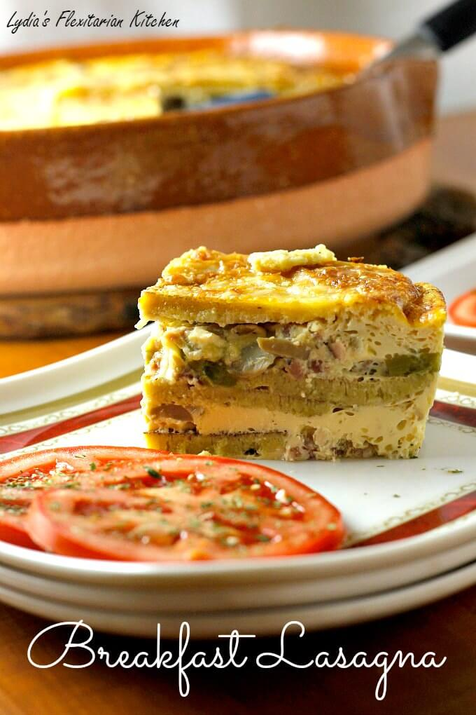 Breakfast Lasagna ~ I Heart Cooking Clubs ~ Nov 2015 ~ Giada de Laurentiis ~ Lydia's Flexitarian Kitchen
