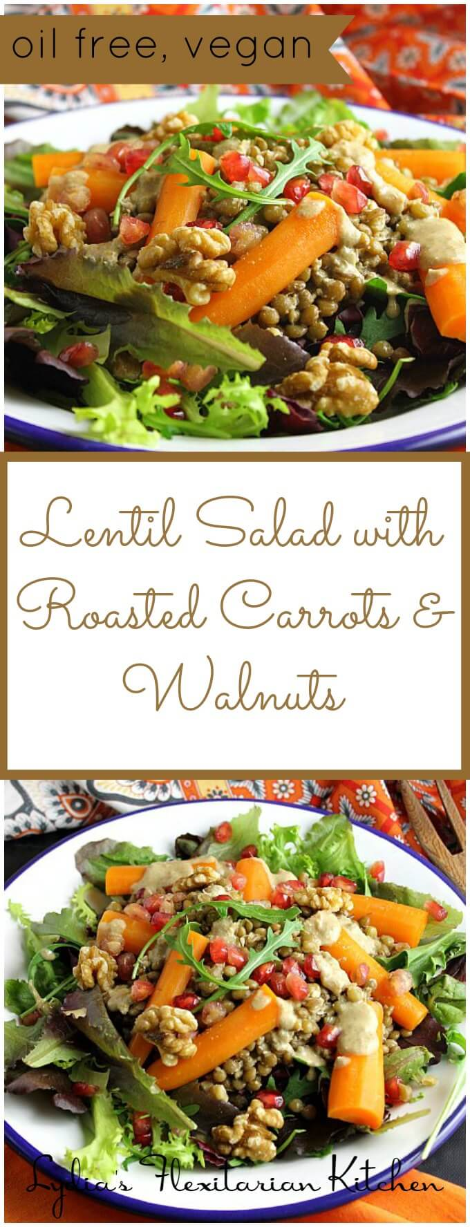Lentil Salad with Roasted Carrots and Walnuts ~ Jamie Oliver ~ I ♥ Cooking Clubs ~ Lydia's Flexitarian Kitchen