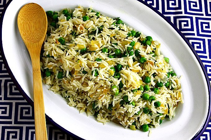 Herbed Peas and Rice ~ A quick and easy weeknight side ~ Lydia's Flexitarian Kitchen