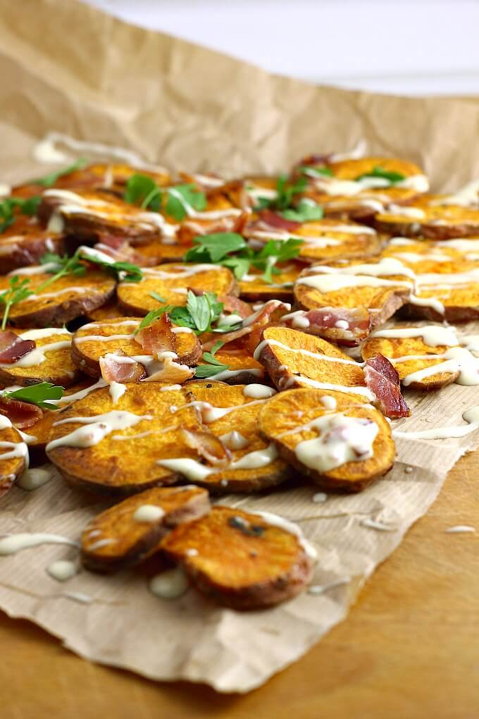 Oven Fried Sweet Potatoes with Bacon Maple Mayo ~ Lydia's Flexitarian Kitchen