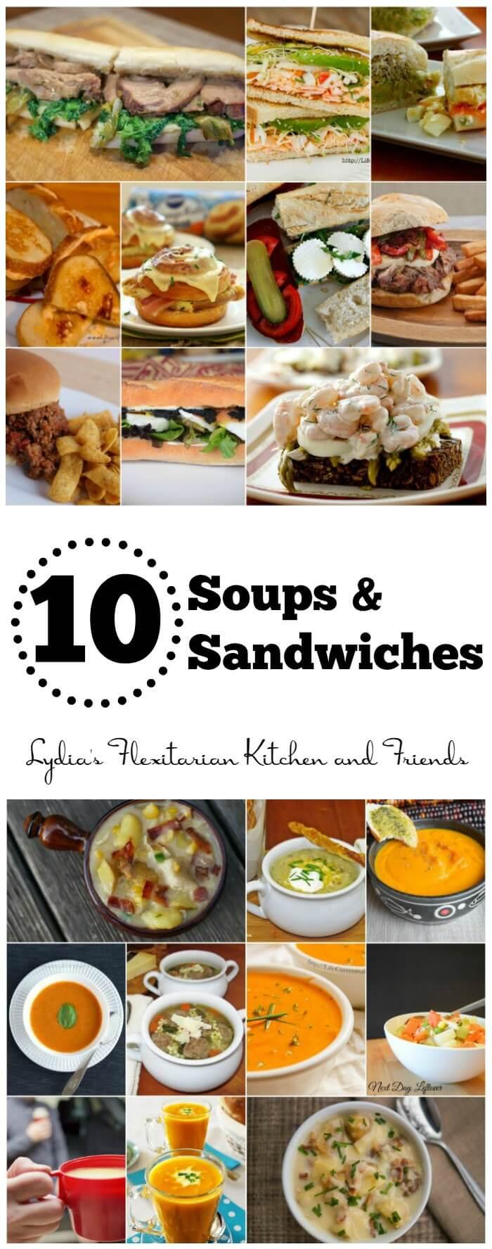 10 Soups, 10 Sandwiches, plenty of combinations ~ Lydia's Flexitarian Kitchen & Friends