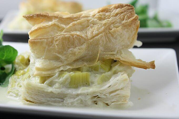 Creamy Leeks Over Puff Pastry ~ Hojaldre de Puerros ~ Lydia's Flexitarian Kitchen