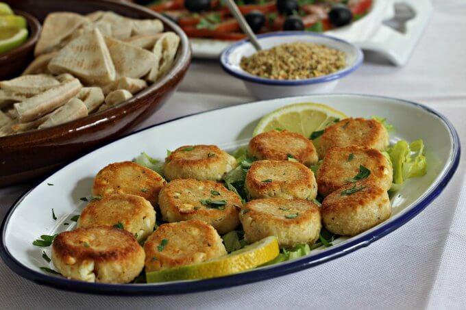 Oven Fried Feta Cheese Balls ~ Food of the World: Egypt ~ #FOTW ~ Lydia's Flexitarian Kitchen