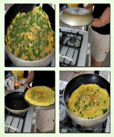 Flipping a tortilla Española