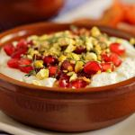 Yogurt Cheese (Labneh) with Pistachios and Pomegranates ~ Simple to do, but needs to be made ahead ~ Lydia's Flexitarian Kitchen