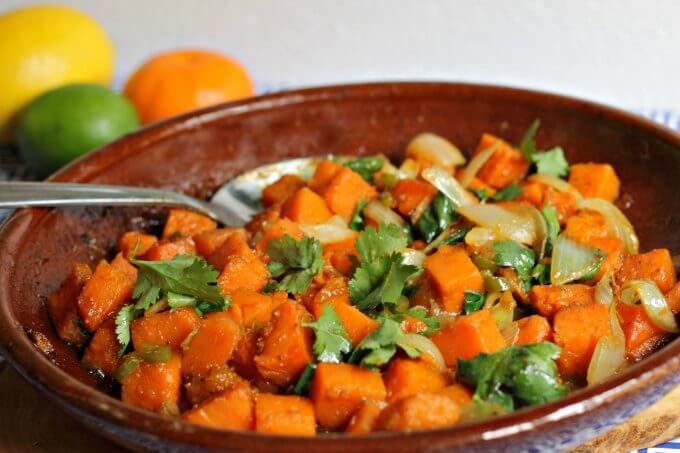 Sweet & Spicy Jamaican Baked Sweet Potatoes ~ #TheRecipeReDux ~ Lydia's Flexitarian Kitchen