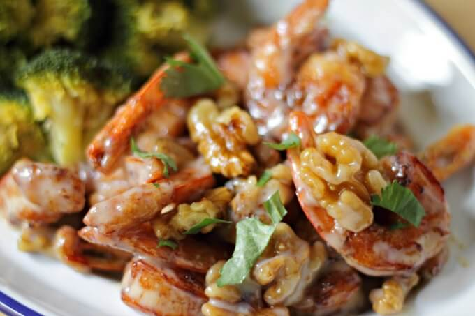 Honey Walnut Shrimp ~ Celebrate Chinese New Year by making this take out favorite at home! ~ Lydia's Flexitarian Kitchen