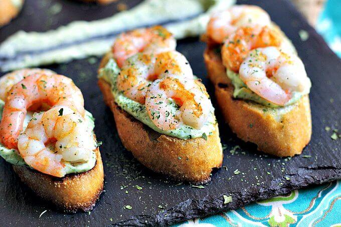 Shrimp on Toast with Garlic Herb Mayo ~ Lydia's Flexitarian Kitchen