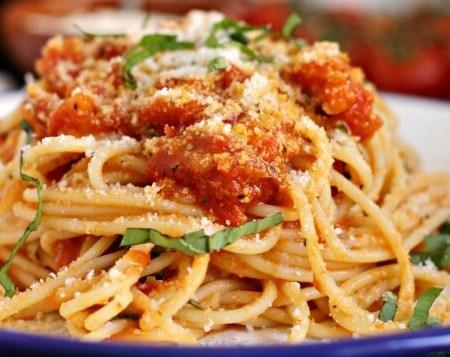 Spaghetti with Fresh Tomato Sauce ~ Lydia's Flexitarian Kitchen