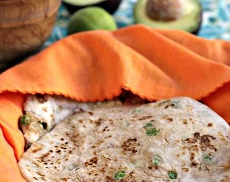 Pea and Potato Parathas ~ Breadbasket: Indian Flatbreads Simplified by Jayashree T Rao #Review ~ Lydia's Flexitarian Kitchen