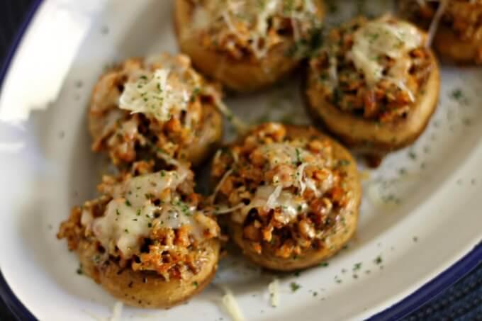 Easy Sausage Stuffed Mushroom Caps ~ Lydia's Flexitarian Kitchen