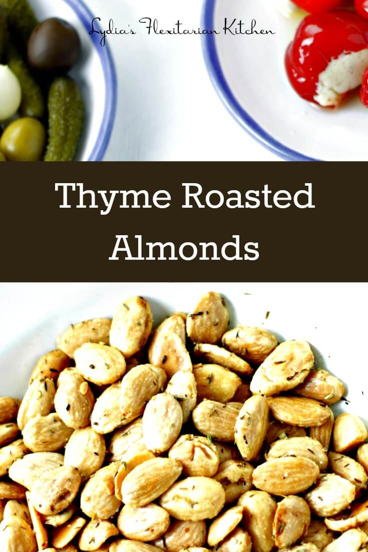 Serve these super easy thyme roasted almonds to your holiday guests. They take less than 10 minutes all together
