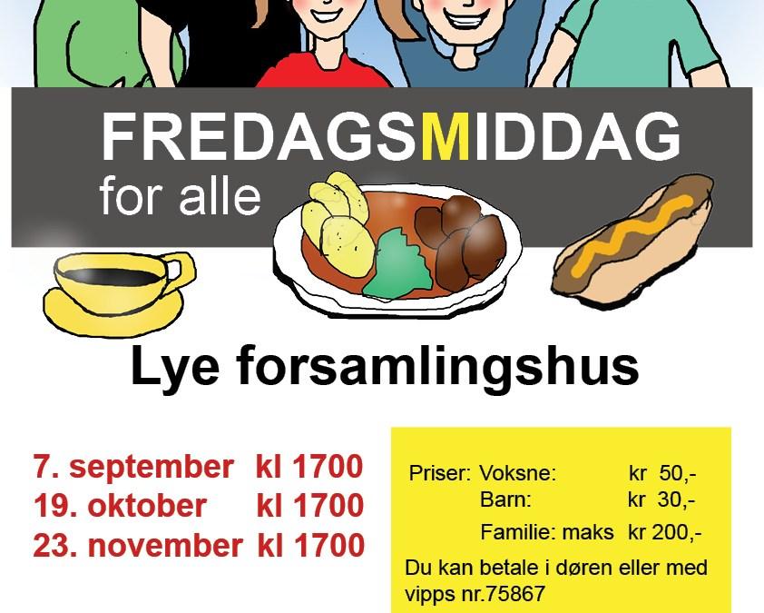 Kom og spis siste Fredagsmiddag i år 23. november!