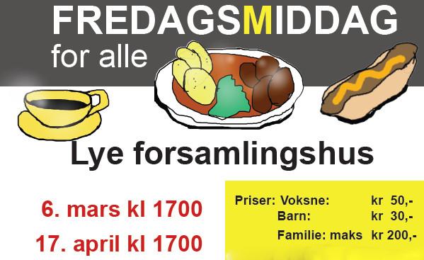 Kom og spis FREDAGSMIDDAG 6. mars