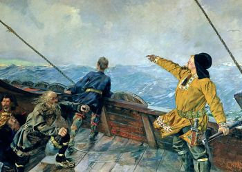 Leiv Eiriksson oppdaget Amerika, maleri av Christian Krohg, 1893. (Nasjonalgalleriet Oslo).