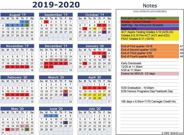 School Calendar 2019 2020