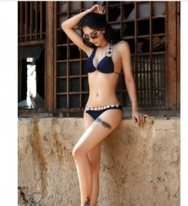 Metal Chain Circle Linked Two-piece Bikini Set Deep Blue