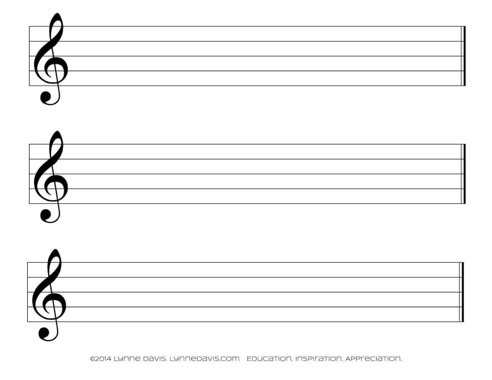treble clef staff paper