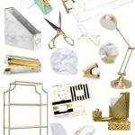 Gold White Marble Acrylic Home Office Decor And Accessories Whatever Is Lovely