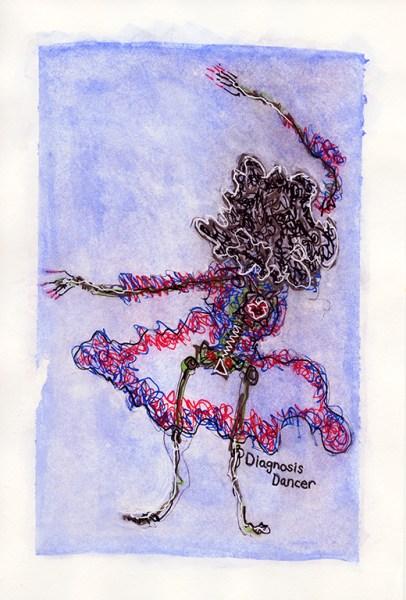 Bony dancing figure with transparent skirt