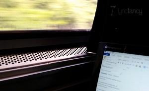 Laptop on train