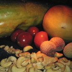 Papaja, Cashewkern, Tomate, Litschi & Mango