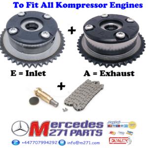 M271 Kompressor Camshaft Adjuster Timing Repair Kit  A2710500800 + A2710500900 + Chain Kit + Cap – 2710520416