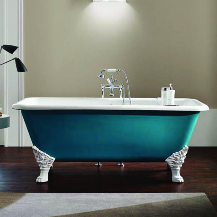 baignoire en fonte emaillee quadro 170x81cm bleu provence