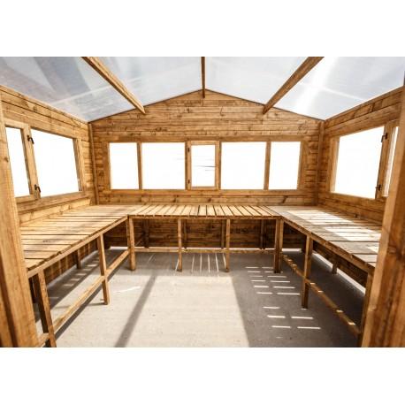 etageres pour serre en bois 12m gardy shelter