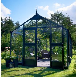 serre de jardin 8 8m anthracite et verre trempe premium juliana