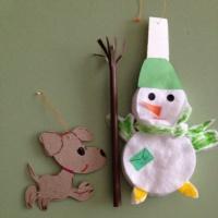 Мақта маталарынан және картоннан қолөнер шеберлік сабағы «Рождество ойыншықтары» сноуборд-почта