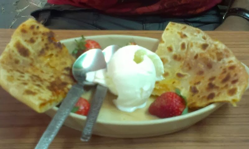Find of the week:Gajar Halwa Paratha with Strawberries and ice cream.
