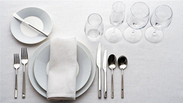 Table layout for a formal seven course meal