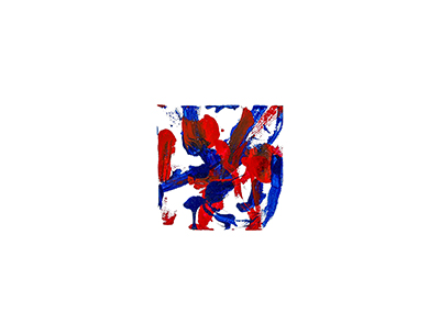 An abstract acrylic painting with red and blue streaks and dots on a white background