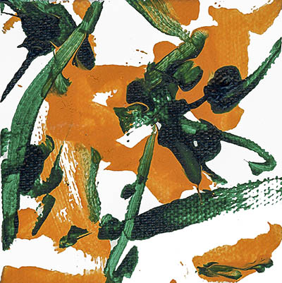 An abstract acrylic on canvas painting with orange and green paint streaks and dots