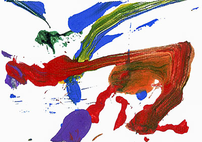 An abstract acrylic on canvas painting with red, blue, purple, and green paint streaks