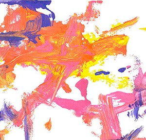 An abstract acrylic on canvas painting with bright orange, pink, yellow, and blue streaks