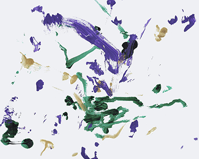 An abstract acrylic painting with purple, green, and gold streaks and dots