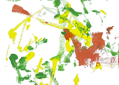 An abstract acrylic painting with orange, yellow, and green streaks and dots