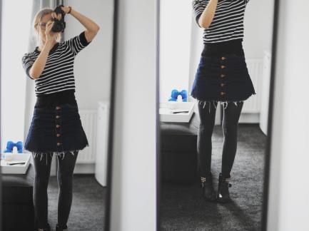 Outfit met spijkerrokje - Maartje Leah