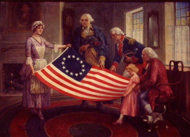 George Washington With Betsy Ross and New Flag