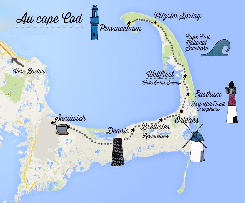 Carte Cape Cod circuit decouverte journee