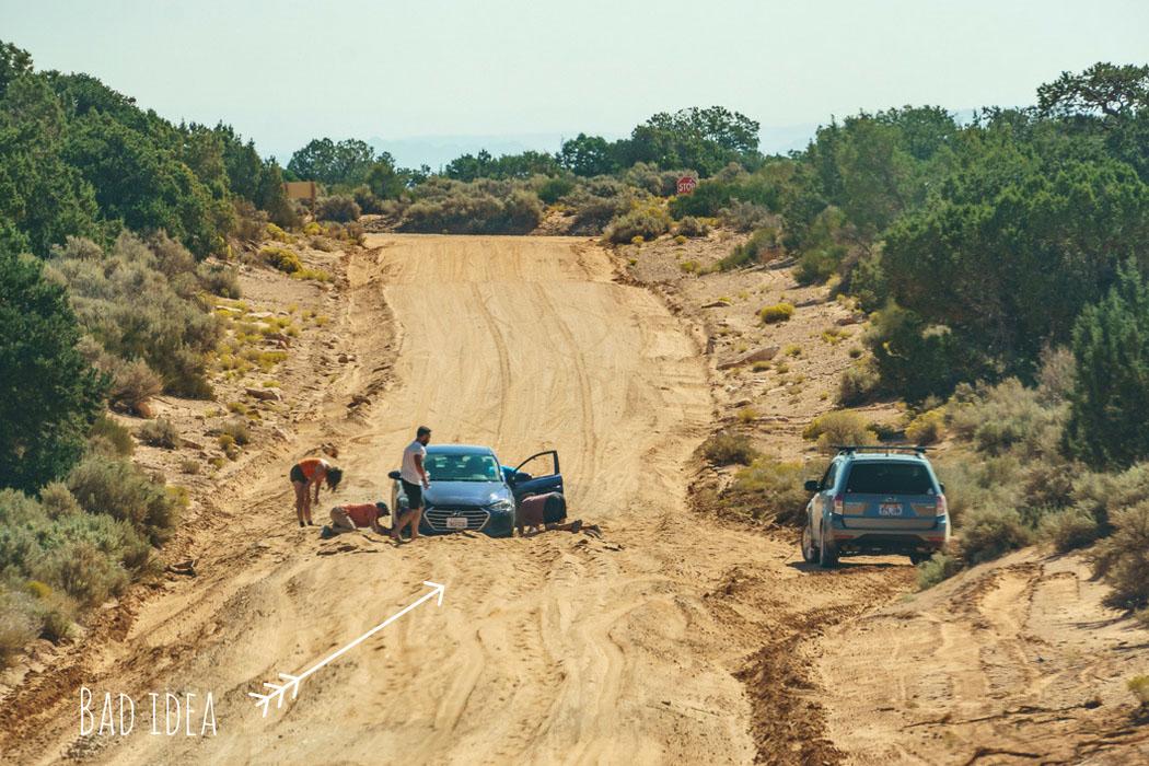 Road trip Bloques dans le sable