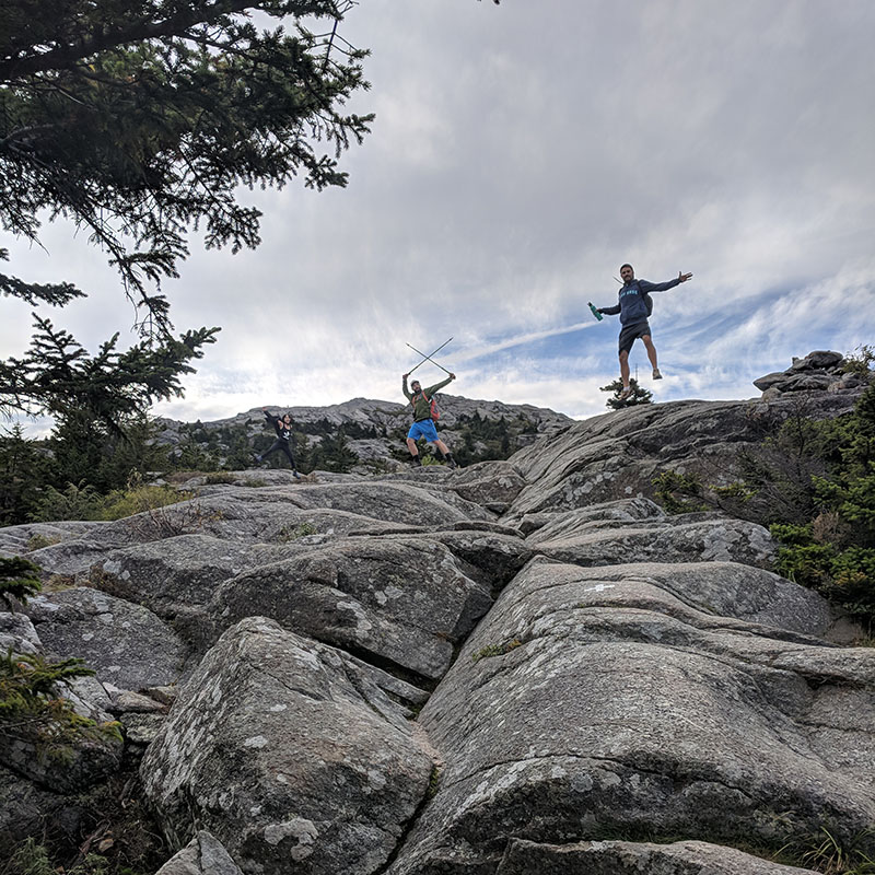 White dot trail jump