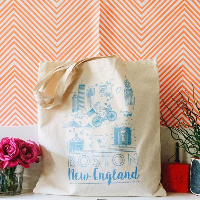Boston new england tote bag