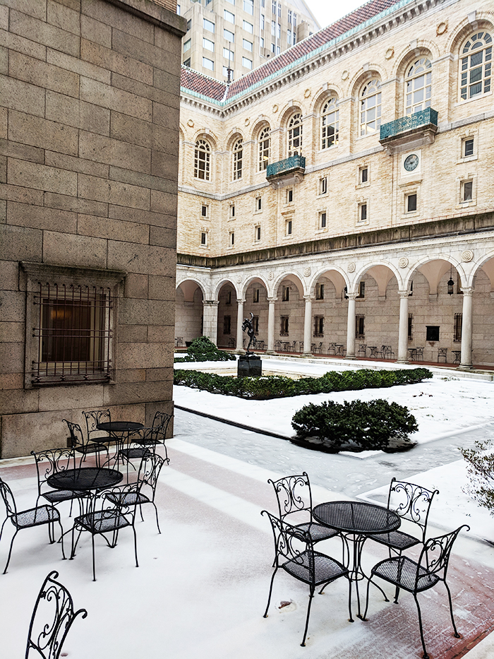 Boston public library snow
