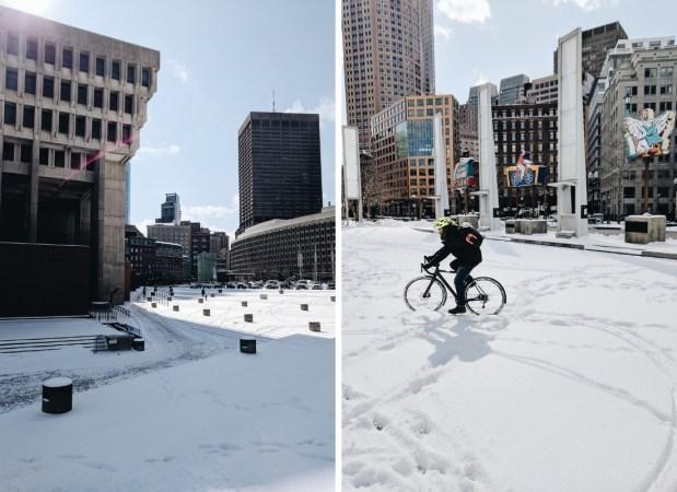 Boston hiver neige velo