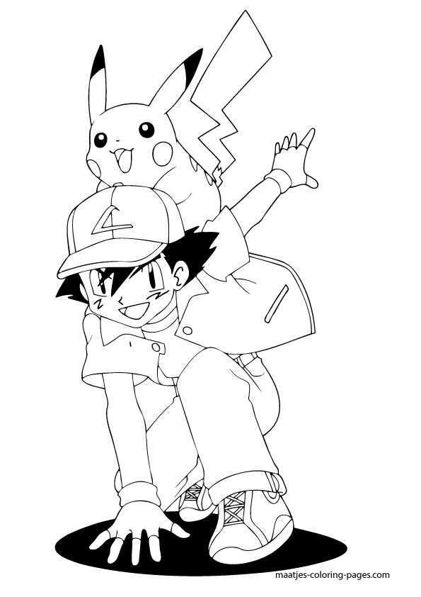 ash ketchum and pikachu coloring page